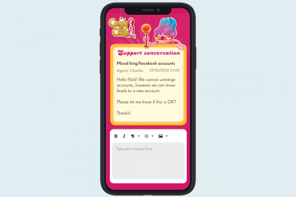 iphone mockup of King help center inbox with Candy Crush Jelly flavour