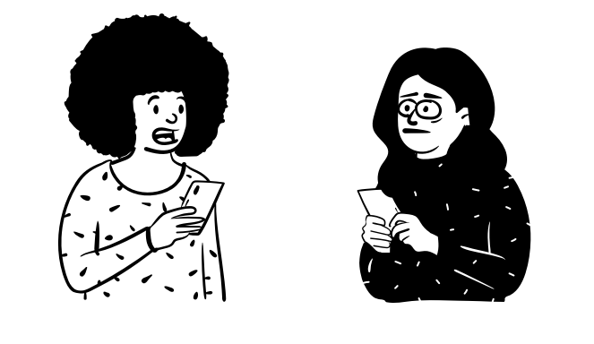 Illustrated comic depicting a player on a testing session talking and a researcher taking notes concerned
